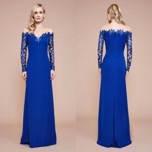 DELTA Tadashi Shoji Crepe Gown Sequins LACE Illusion Sleeves Royal Blue 10 $348